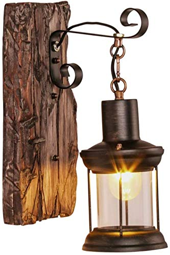 Luces de pared industriales, Lámpara de pared de aceite de carbón vintage industrial antigüedad de la pared de keroseno luz e27 gancho colgante de madera de madera soporte luces bar cafetería restaura