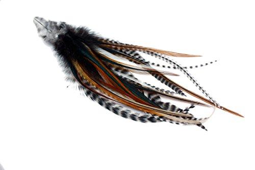 Assortiment de 25 extensions de cheveux en plumes véritables avec anneaux et passant Couleur naturelle