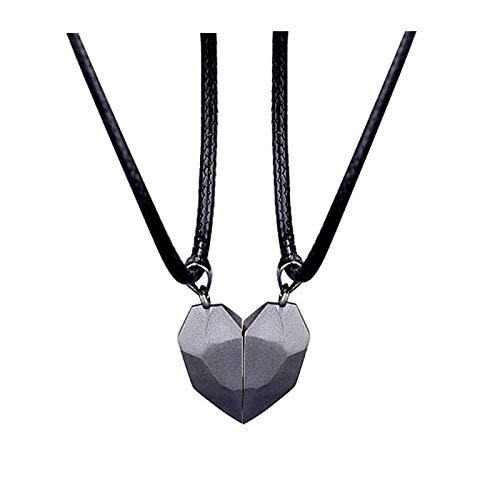 Collar De Mujer Amor Negro 2 Unids/Set Collar Magnético De Pareja para Mujeres Amante Eslabón Colgante Collar Joyería De La Amistad del Día De San Valentín