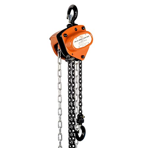 SuperHandy Manual Chain Block Hoist Come Along 1/2 TON 1100 LBS Cap 10FT Lift 2 Heavy Duty Hooks Commercial Grade Steel for Lifting Pulling Construction Building Garage Warehouse Automotive Machinery