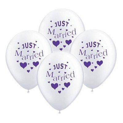 10ballons de mariage Just Married Blanc avec Violet Police
