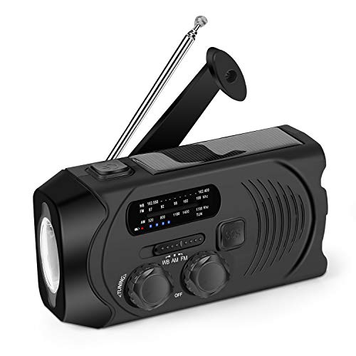 Wind Up Emergency Solar Crank Radio AM/FM/NOAA Weather Radio with Flashlight,2000 mAh Power Bank, SOS Alarm, Phone Charger for Hurricanes, Tornadoes and Storms