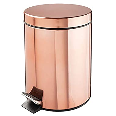 mDesign 5 Liter Round Small Steel Step Trash Can Wastebasket, Garbage Container Bin for Bathroom, Powder Room, Bedroom, Kitchen, Craft Room, Office - Removable Liner Bucket, Rose Gold