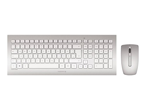 CHERRY DW 8000 RF Wireless QWERTZ Deutsch Silber, Weiß Tastatur - Tastaturen (Standard, Kabellos, RF Wireless, QWERTZ, Silber, Weiß, Maus enthalten)
