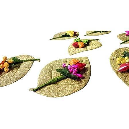 KIRTHI Enterprises Haldi Kumkum Holder,Plate Paper and Plastic Leaf Set Pack of 15 PCS