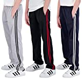 Real Essentials 3 Pack: Boys Active Tricot Sweatpants Track Pant Basketball Athletic Fashion Teen Sweat Pants Soccer Casual Girls Lounge Open Bottom Fleece Tiro Activewear Training -Set 1,S (8-10)