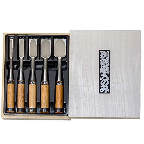 Japanese Style Chisel 5pcs Set, Blade Material: High Speed Steel