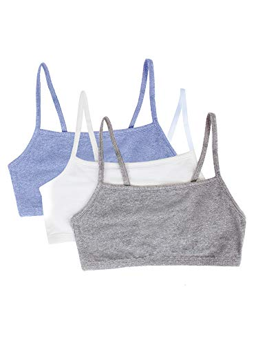 Fruit of the Loom womens Cotton Pullover Sport Bra, heather grey/white/heather blue 36