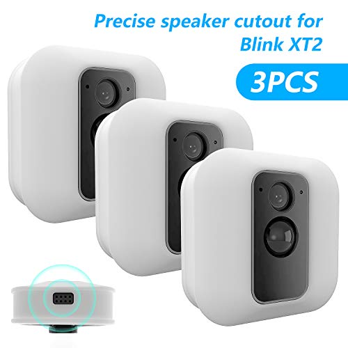 [3 Pack] Silicone Skin for Blink XT/XT2 Security Camera-MOFAD Silicone Case for Brink Home Security - Anti-Scratch Protective Cover for Full Protection - Indoor Outdoor Best Home Accessories (White)