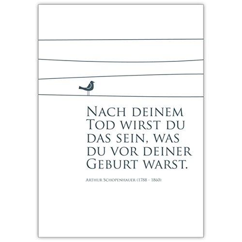 Rouwkaart met vogel motief: na je dood zul je dat zijn wat je voor je geboorte wast. Arthur Schopenhauer (1788-1860) – mooie premium bijstandkaart als condoolenkaart voor het rouwhuis