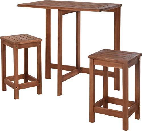 Koopman Table pliante avec tabouret 3 pièces Bois Salon de balcon Salon de balcon Meubles en bois pour balcon