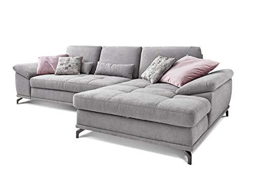 Cavadore Ecksofa Castiel mit Federkern, großes Sofa in L-Form mit Sitztiefenverstellung und XL-Longchair, 312 x 89 x 173, Webstoff, hellgrau