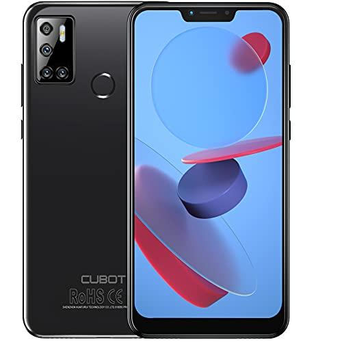 CUBOT C20 Smartphone ohne Vertrag, 4GB RAM Handy, 6.18 Zoll Bildschirm, 4200mAh Akku, 3 Kameras, 64GB ROM, 128GB erweiterbar, Dual SIM, Android 10.0, Face-ID, Fingerabdruck, NFC, Schwarz