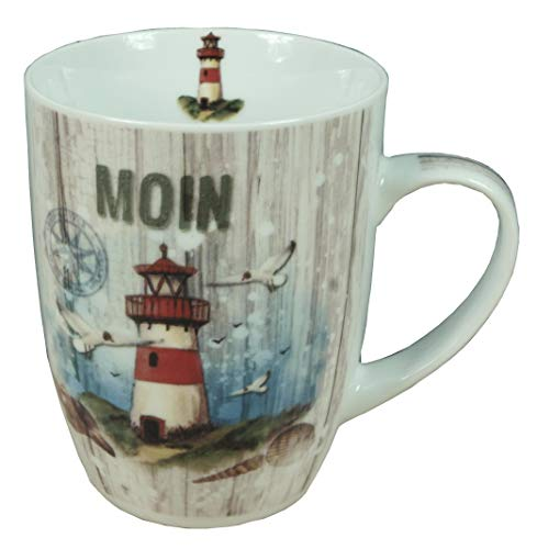 Küstenambiente Porzellan Becher mit Leuchtturm *Moin* Inhalt 350ml Kaffeebecher Tasse maritimes Motiv (1320)
