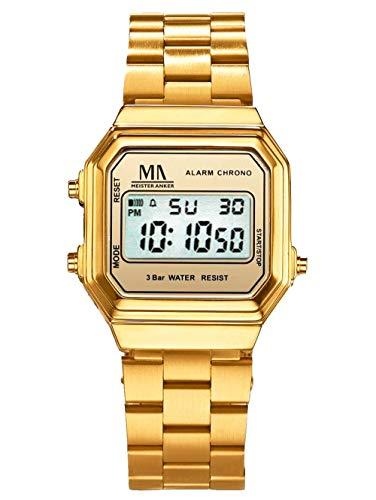 Meister Anker Herren Digital Uhr in Goldfarben mit Armband in Goldfarben aus Edelstahl