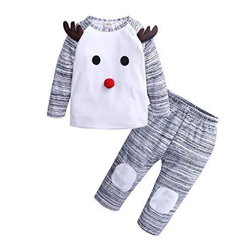SERAPHY Ropa de Ciervos navideños Trajes Bebe niño Conjunto de Top + Pantalones de Dibujos Animados Bebé niña Linda Cosplay Disfraz Regalos para bebes-90