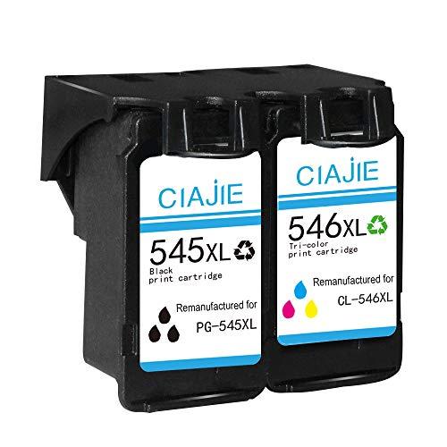 Ciajie - Cartucce d'inchiostro rigenerate compatibili con Canon 545 546 XL PG545 CL546 per Pixma IP2850 MG2450 MG2550S MG2950 MX495 TS205 TS305 TS3150 IP2800 TR4550 (1 nero+1 colore)