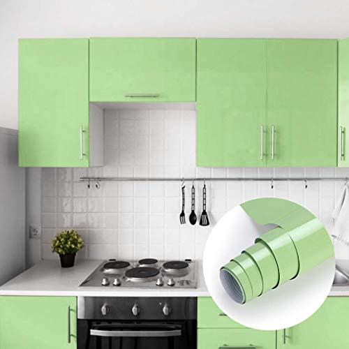 Grüne Möbelfolie Klebefolie 0.61 x 5 m Aufkleber Küchenschränke Selbstklebende Küchenfolie PVC Tapeten Dekofolie Schrank Folie Wasserfest für Küche