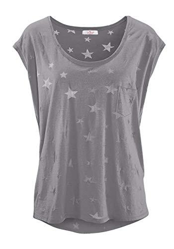 ELFIN Damen T-Shirt Kurzarmshirt Basic Tops Ärmelloses Tee Allover-Sternen Ausbrenner Shirt Sommer Shirt X-Large Hellgrau