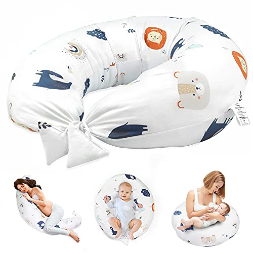 Almohada Embarazada y Cojin Lactancia - Cojín Embarazo Maternidad Dormir y Cojines Nido Bebe Grande (Arcoíris, 165 x 70 cm)