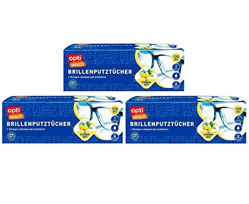 OptiWisch - Toallitas húmedas para limpiar gafas, aroma a limón, desengrasante (3 paquetes de 100 unidades)