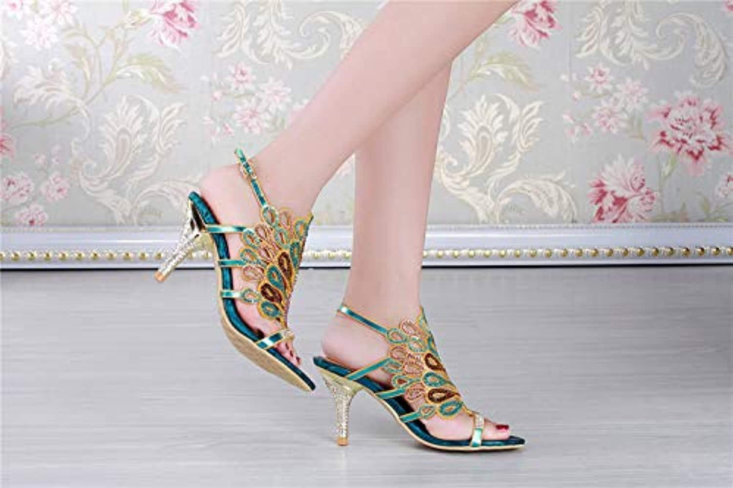 Women's shoes Synthetic Ankle Strap Sandals Stiletto Heel Crystal Heel Rhinestone bluee Party & Evening Party & Evening,A,US11 EU43 UK9 CN44