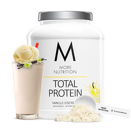MORE NUTRITION Total Protein – dein premium Whey Protein-Pulver mit dem Plus an Casein & Laktase – hochwertiges Eiweißpulver für deinen Muskelaufbau – 1,5 Kg (Vanille-Eiscreme)