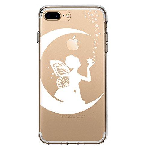 SLIDE IP7Plus / IP8Plus TPU Funda Gel Transparente Carcasa Case Bumper de Impactos y Anti-Arañazos Espalda Cover, Dibujos Animados, Special Collection, Hada de la Princesa, iPhone 7 Plus, 8 Plus