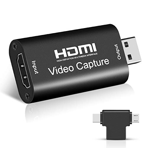 TYCKA HDMI Video Capture Card with Adapter Full HD 1080P 30Fps Live Audio Video Capture Game USB 2.0 Game Capture Device HDMI to USB Recording Box for Gaming,Teaching, Video Conference, Streaming
