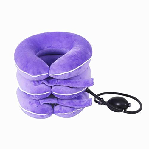 ZENGZHIJIE Best Cervical Neck Traction Device & Collar Brace,Inflatable & Adjustable Neck Support Pillow is Ideal for Spine Alignment & Chronic Neck Pain Relief (Color : Purple)