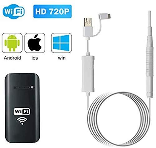 Endoscopio inalámbrica, conexión Directa Cuchara oído Dual USB for Visual, Windows, PC, Micro USB, Color: Negro (Color : White)