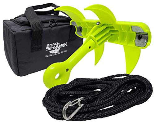 JAWS Anchor by SandShark Grapnel Type Folding Anchor Kit, Bungee Line Stretches 25-28 ft, Rip-Stop Padded Case for Easy Storage, Jetski, Canoe, PWC, Kayak, Paddleboard, Inflatable, Small Boat