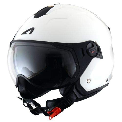 Astone Helmets - MINIJET S SPORT monocolor - Casque jet compact - Casque de moto look sport - Casque de scooter mixte - Casque en polycarbonate -Gloss white XL
