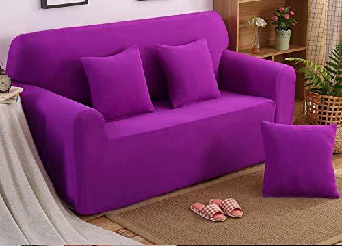 Allenger Funda Sofa Elastica Protector Adaptable,Funda de sofá Gruesa de Color sólido de Punto elástico, Funda a Prueba de Polvo de sofá, cojín de sofá Completo-púrpura_190-230cm