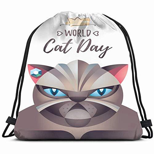 LREFON Bolsas de cuerdas para el gimnasio cartel de gato mundo animales vida silvestre resumen vacaciones Mochilas Casual Unisex Escuela Bolsa de Cuerda Bolsas de Gimnasia 36*42cm