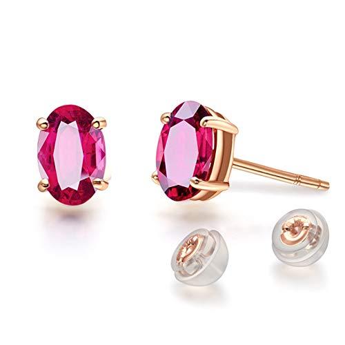 ANAZOZ 18K Oro Rosa Pendientes Mujer Oro Rosa Pendientes Mujer Oval Turmalina Sangre Paloma Roja 1.5ct