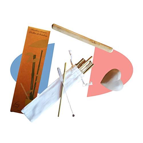 Anima VERDE Cannucce di bambù fatte a mano. Zero rifiuti, ecologico, biodegradabile, trasportabile e protetto nella sua cassa di legno. Idea regalo.