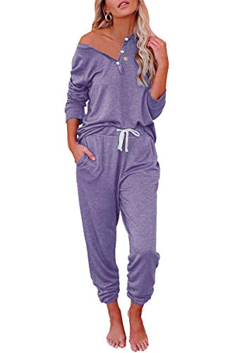 AUTOMET Womens Loungewear Sets 2 Piece Lounge Sets for Women Sweatsuits Pajamas Sets with Jogger Sweatpants Sets Purple