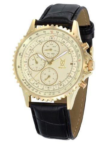Konigswerk Mens Gold Tone Multifunction Watch Black Leather Strap Crystal Markers Reloj De Oro SQ201422G