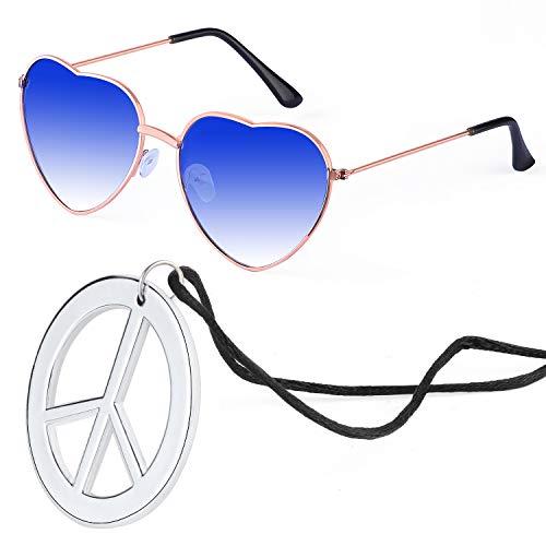 Beelittle Hippie Dressing Accessoireset Hartvormige zonnebril Dunne metalen frame Hartstijl en Peace Sign-ketting (blauw)