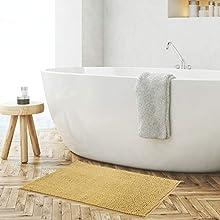Alfombra para baño antideslizante maxi cm 60 x 90 con base engomada, moderna gruesa ultra absorbente de suave microfibra 900 g/m². Alfombra de ducha y seca pasos e sanitarios (amarillo mostaza)