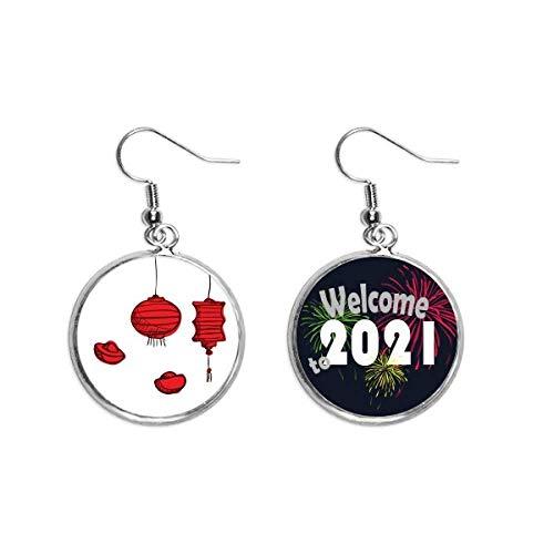 Red Lanterns Chino Año del Gallo Pendientes Pendientes Joyería 2021 Bendición