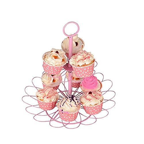 n.g. Wohnzimmerzubehör Tortenständer 2 Etagen Metall Tortenständer Rosa Polka Dot Baby Shower Cupcake Stand Party Food Display