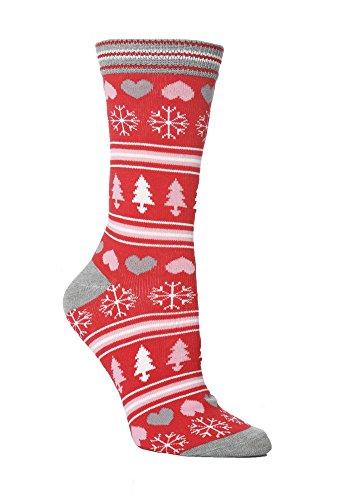 Festive Feet 1 Paar Damen Neuheit Weihnachtsbaum- Schneeflocken und Herz- Socken UK 08.04 EUR 37-42 Red