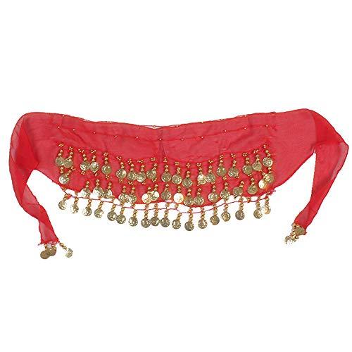 Puwind Bufanda de danza de cadera de 3 filas doradas, cinturón de gasa, 140 cm, para mujer, disfraz de baile, paquete de 1