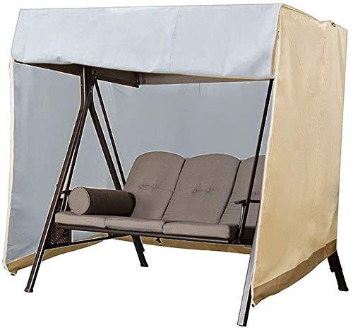 Funda para columpio de jardín, impermeable, resistente al viento, anti-UV, para exterior, para silla de columpio, tela Oxford, funda protectora para hamaca de patio grande (220x125x170cm,Beige)