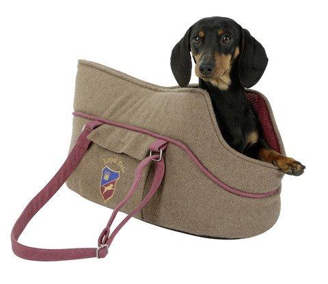"""Kerbl Hunde Tragetasche """"Royal Pets"""" im Old-English-Design in braun/rot, mit integrierter Leine (verhindert rausspringen)"""