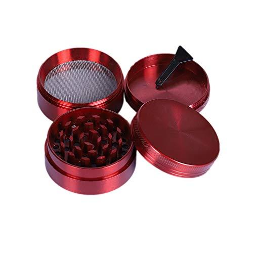 Vokmon Grinder Metálico - Grinder Especias - Molinillo con Rascador Polen para Especias - 4 Piezas 3 Cavidades (Ø5cm, Rojo)