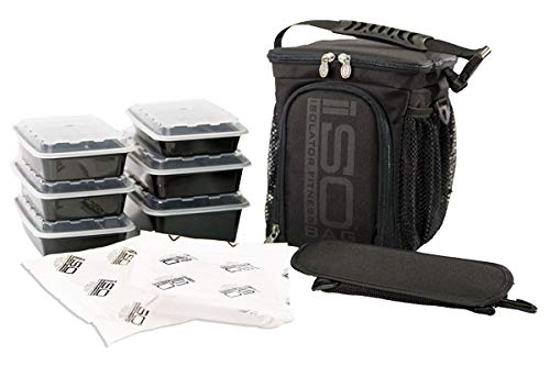 Meal Prep Bag ISOCUBE 3 Meal Insulated Lunch Bag Cooler with 6 Stackable Meal Prep Containers, 2 ISOBRICKS, and 1 Shoulder Strap - MADE IN USA (Blackout)