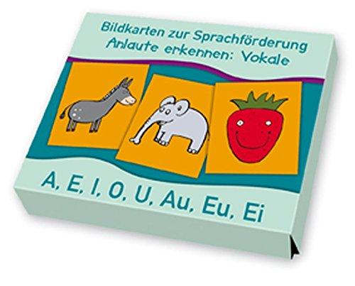 Bildkarten zur Sprachförderung: Anlaute erkennen: Vokale: A, E, I, O, U, Au, Eu, Ei